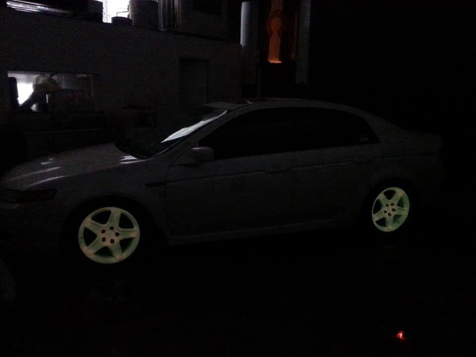 Glow in the Dark wheels using our Pink to Orange pearl.