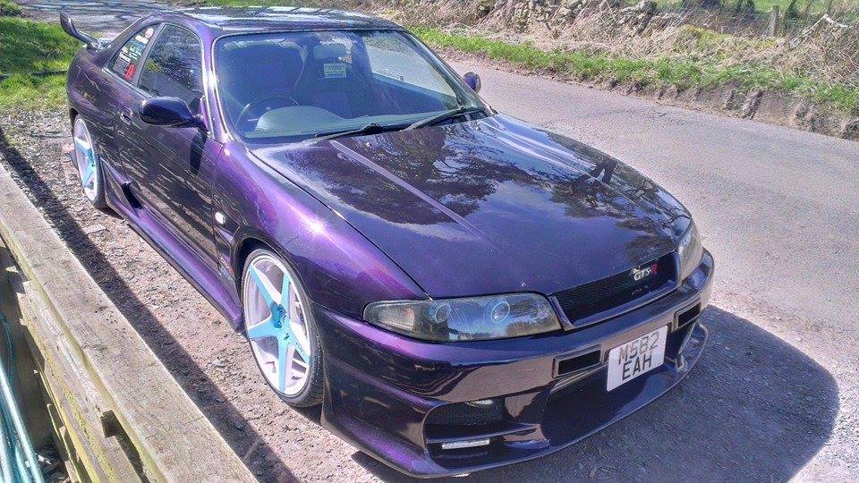 Violet Purple Nissan Skyine painted with Violet Illusion Pearls.