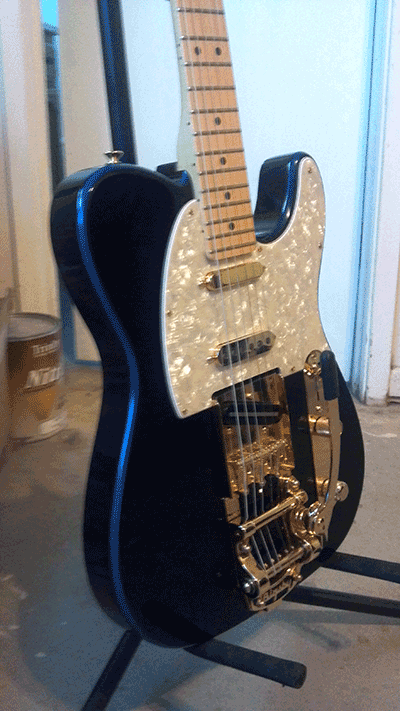 Violet Blue Fender Telecaster painted with our Violet Blue Ghost Pearl