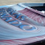Jet boat airbrushed with Red Wine Candy, Electric Blue, Silver Platinum Illusion Pearls.