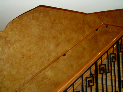 Bronze Copper Color Pearls over tan base latex used in Faux Finish Glaze.