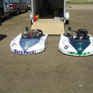 Candy and Pearl go carts.