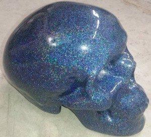 Holographic Blue Custom Paint Job on a skull.