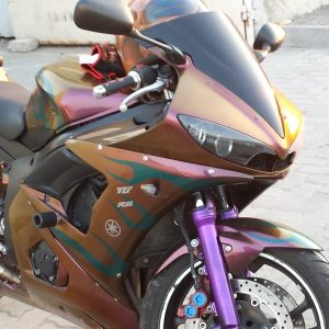 Custom Super Bike Painted with our 4739OR. This is our Gold Orange Red Chameleon. Colorshift Pearls s that creates a color shifting paint.