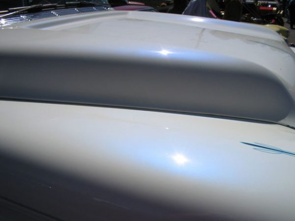 Blue Satin iridescent Illusion Pearls on White Hood