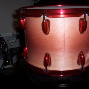 Rose Red Color Pearls on Drum Set by DMR Drums.