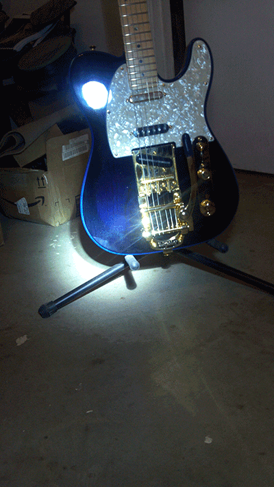 Violet Blue Ghost Pearl in stage lights for the Fender Telecaster.
