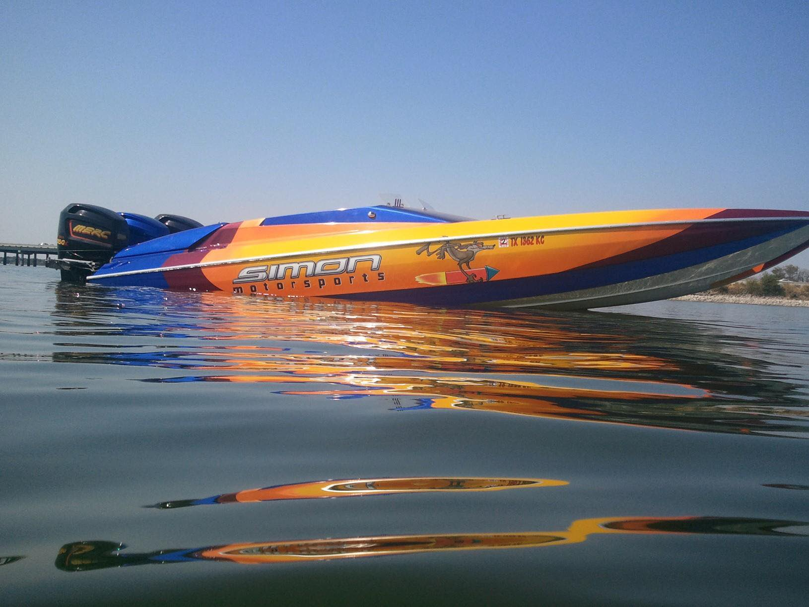 Gold Ghost and Other Pearls on Custom Painted Racing Boat.