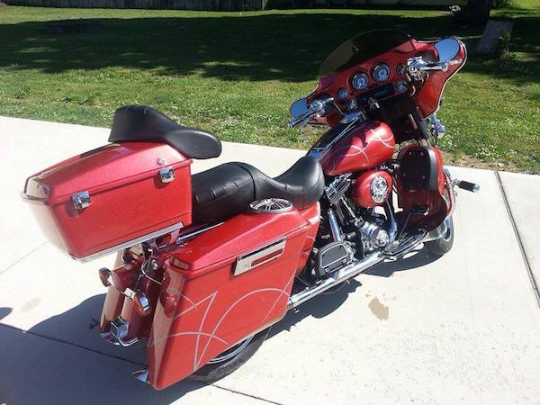 Wine Red Crystal Candy on Electra Glide Harley.