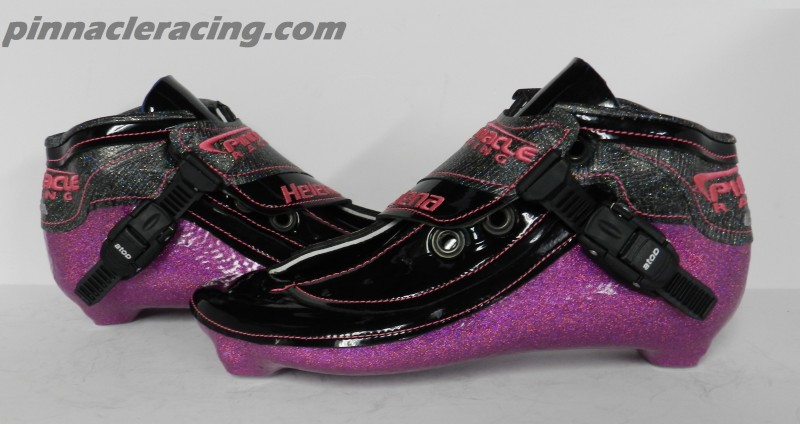 pink holographic metal flake on speed skate boots