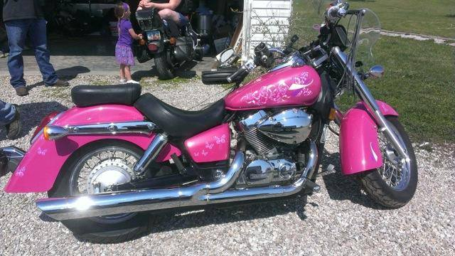 Hot Pink Harley with Silver Illusion Pearls.