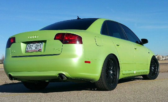 Lemon Lime Yellow Gold Flip Paint Colorshift Pearls  on Audi by Dynamic Auto Dip.