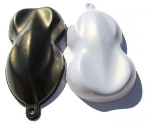Gold Illusion Pearls Shapes painted over both black and white base coats.
