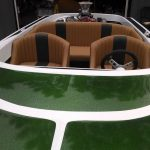 moss green metal flake and gold shimmer pearl on a jet boat