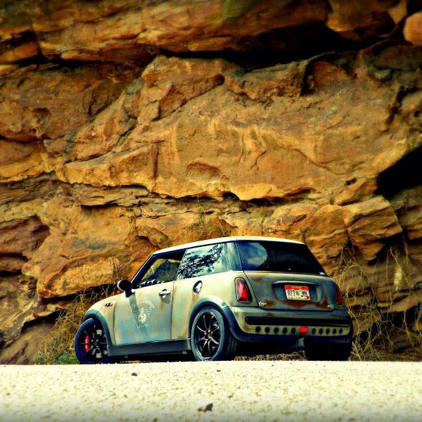 The Not a rust bucket Mini Cooper at Red Rocks.